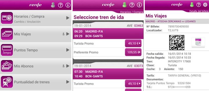 Renfe Ticket App comprar billetes tren
