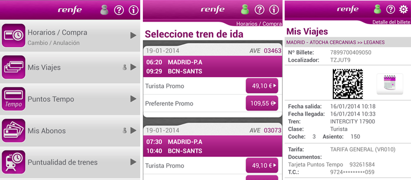 Renfe Ticket App comprar billetes tren