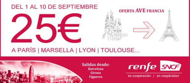 Oferta Billetes AVE Renfe Barcelona Francia