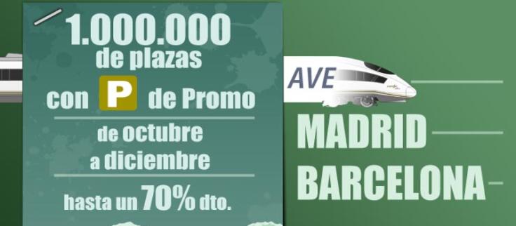 Oferta Renfe AVE Barcelona Madrid hasta 70 descuento