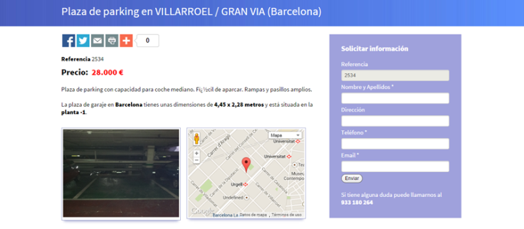 vender parkings barcelona y madrid