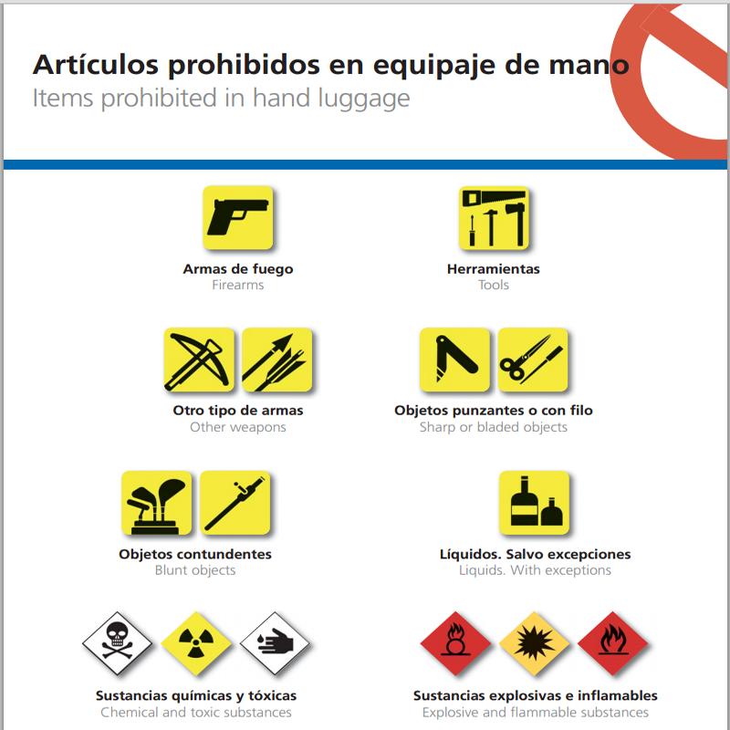 Articulos prohibidos en el equipaje de mano