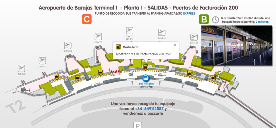 Punto de encuentro bus transfer barajas Terminal 1 planta 1 Salidas
