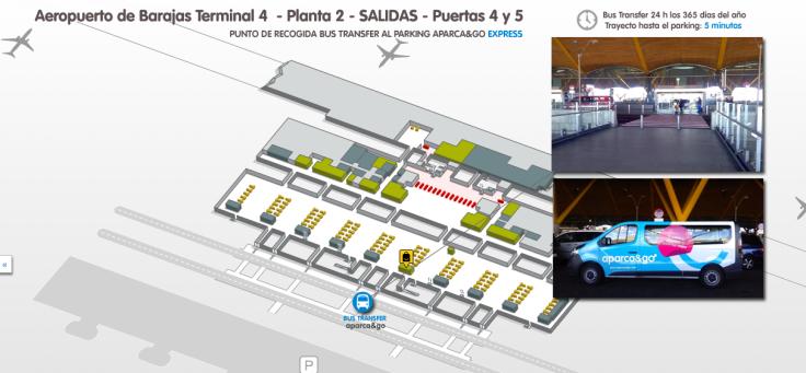 Punto de encuentro bus transfer barajas Terminal 4 planta 2 Salidas